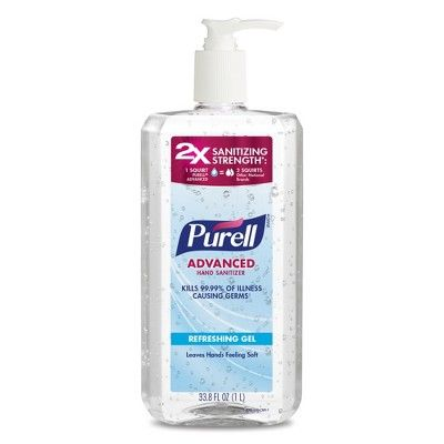 Purell Advanced Hand Sanitizer Refreshing Gel Pump Bottle 33 8