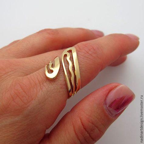 Купить Авторское золотое кольцо. Кольцо с регулируемым размером - золотой, кольцо, кольцо ручной работы