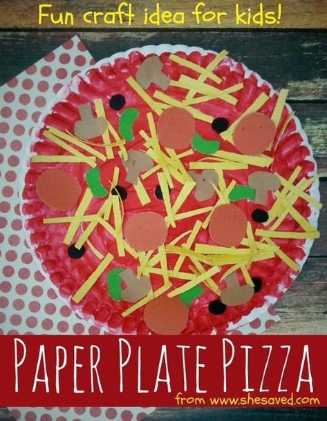 Looking for a fun craft for the kids? This Paper Plate Pizza Craft Idea is perfe… Looking for a fun craft for the kids? This Paper Plate Pizza Craft Idea is perfect for little hands and would make a wonderful preschool or kindergarten activity! Paper Plate Crafts For Kids, Spring Crafts For Kids, Easy Crafts For Kids, Craft Activities For Kids, Crafts To Do, Art For Kids, Craft Ideas, Diy Ideas, Creative Crafts