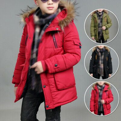 Winter Kids Boy Girl Hooded Warm Quilted Puffer Coat Jacket School Parka Outwear
