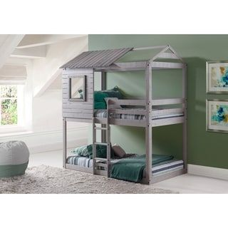 Donco Kids Loft Style Light Grey Twin Over Twin Bunk Bed Twin