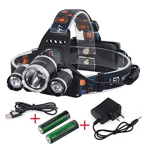 6000Lm T6 3xLED Headlight Torch Headlamp Head Light Lamp Rechargeable Batteries