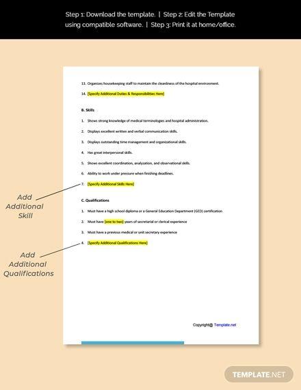 Hospital Unit Secretary Job Ad And Description Template Free Pdf Word Google Docs Job Description Template Job Ads Cover Letter Template