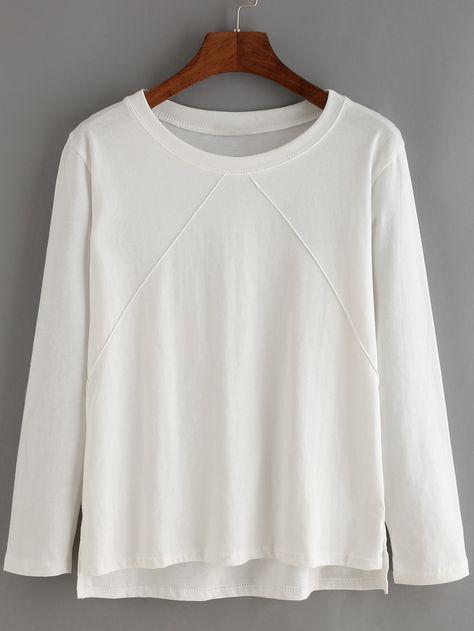 conseguir baratas replicas zapatos de otoño Camiseta cuello redondo manga larga suelta-(Sheinside ...