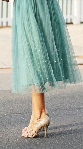 2015 Spring Short Women Skirts Pearled Tea Length Light Green Custom Made Plus Size Maxi Ladies Tulle Skirts Fast Shipping