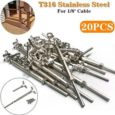 20pcst316 Stainless Steel Tensioner Deck Toggle Set 1 8 Cable Railing W Screws In 2020 Ebay Accessories Railing