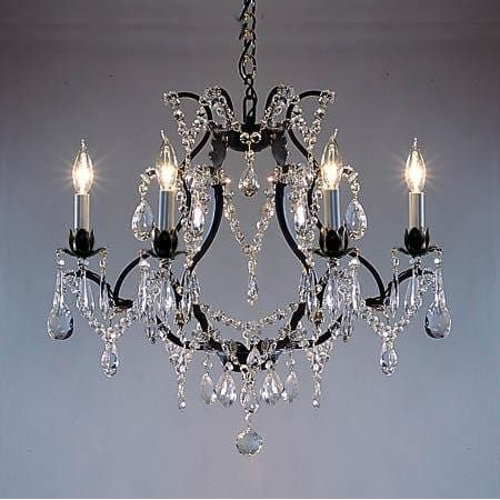 Wrought Iron Crystal Chandelier Lighting Country French 1 Light Ceiling Fixture
