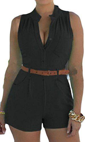 Cromoncent Womens V Neck Sleeveless Striped Belt Short Rompers Jumpsuits