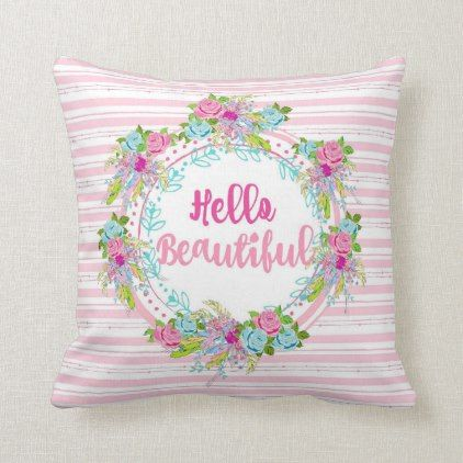 Hello Beautiful Pink Stripe Tropic Boho Throw Pillow Zazzle Com