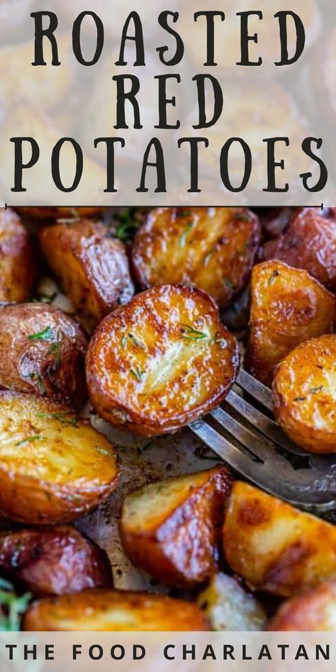 The easiest recipe ever for Oven Roasted Red Potatoes! These baby reds come out tender in the middle and oh-so-crispy on the outside, every time. Seasoned with garlic and tossed at the end with a bit of white wine vinegar, the flavor is irresistible. The perfect side dish for so many dinners, but I also love to serve these as an appetizer with a variety of dips! Everybody loves them!