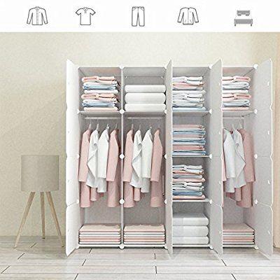Amazon Com Megafuture Wood Pattern Portable Wardrobe For Hanging