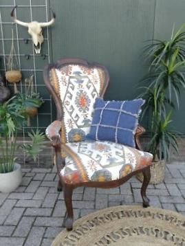 Antieke Stoelen Barok.Vrolijke Antieke Fauteuil Vintage Stoel Barok Inca Stof