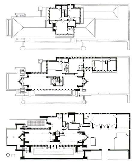 Floor plans Robie House Prairie Style Frank Lloyd Wright 1910