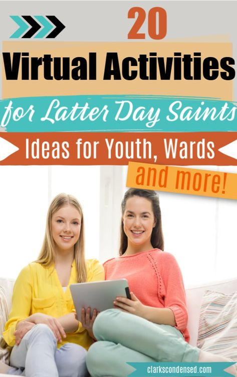 20 Virtual Activities for Latter Day Saints: Ideas for Youth, Wards, and More - Clarks Condensed Mutual Activities, Youth Group Activities, Young Women Activities, Activities For Girls, Church Activities, Christian Youth Activities, Group Games, Therapy Activities, Ward Activity Ideas