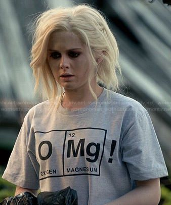 "Liv's ""OMg!"" Oxygen Magnesium tee on iZombie.  Outfit Details: http://wornontv.net/47624/ #iZombie"