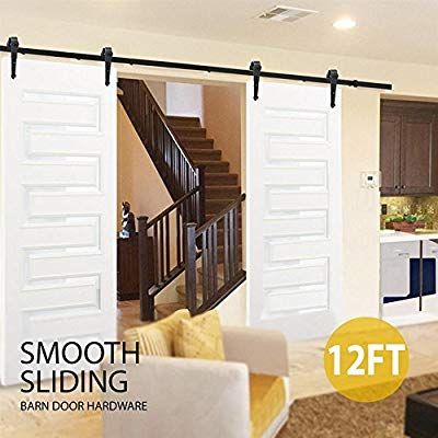 Yaheetech 12ft 366cm Retro Sliding Wood Barn Door Hardware Kit Closet Sliding Track Roller Hangers For Doub Sliding Barn Door Closet Barn Door Closet Barn Door
