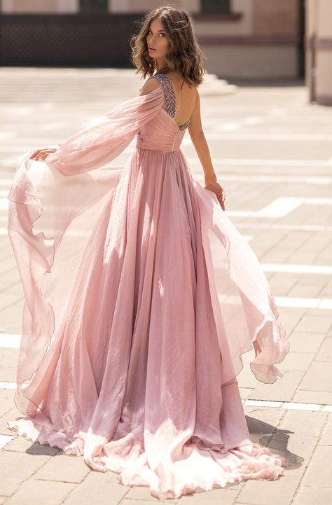 Tarik Ediz - 93854 One Shoulder Beaded V Neck High Slit Chiffon Gown – Couture Candy Couture Dresses, Fashion Dresses, Wedding Dress Bustle, Wedding Bridesmaid Dresses, Goddess Dress, Chiffon Gown, Chiffon Fabric, Perfect Prom Dress, Dressy Dresses