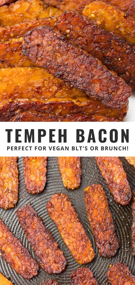 My favorite vegetarian bacon - Tempeh Bacon! Protein packed, ultra flavorful and easy to make. This vegan bacon is perfect for BLT sandwiches or brunch! Tempeh Recipes Vegan, Vegetarian Bacon, Vegan Dinner Recipes, Vegan Breakfast Recipes, Veg Recipes, Vegan Foods, Vegan Dishes, Whole Food Recipes, Vegetarian Recipes