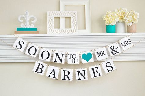 Our Soon To Be Mr and Mrs banner can be used many times! Use for your engagement party or couples shower as is, use for a bridal shower by just
