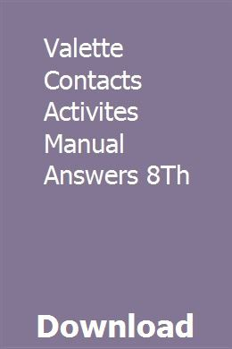 Valette Contacts Activites Manual Answers 8th Marketing Method Common Core Activities Manual