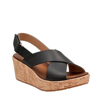 Comfort Shoes For Women Jcpenney Womens Wedges Navy Leather