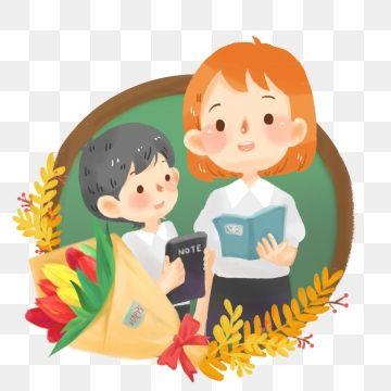 Female Teacher Language Teacher Teacher Student Interaction Teachers Day Png And Psd Teacher Cartoon Language Teacher Teachers Day