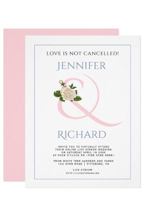 Blush pink and dusty blue ampersand and rose virtual wedding invitation. #invitation #wedding #virtualwedding #ampersand #rose #elegant #blushpink #dustyblue