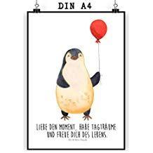 Mr. & Mrs. Panda Wandposter, Bild, Poster Din A4 Pinguin Luftballon mit Spruch - Farbe Weiß