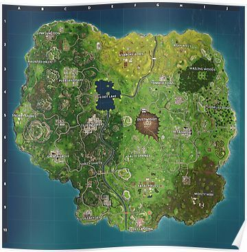 Fortnite Map Season 4 Poster Battle Royale Game Map