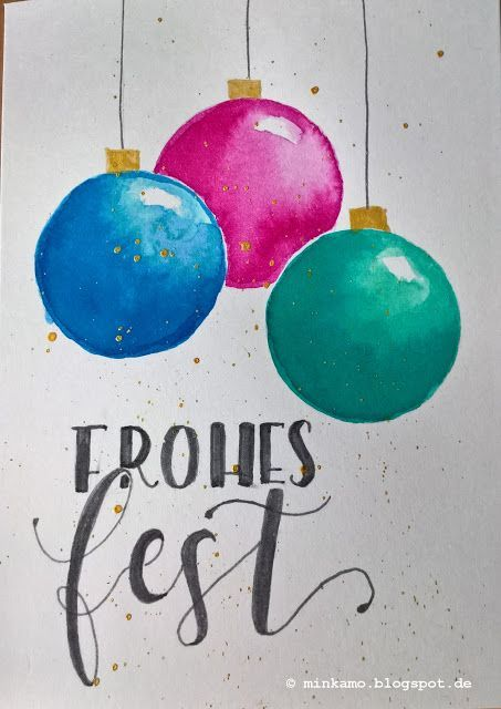 Die Schlichte Karte Weihnachten Zeichnen Weihnachtskugeln