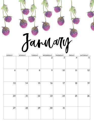 Free Printable Calendar 2019 Floral