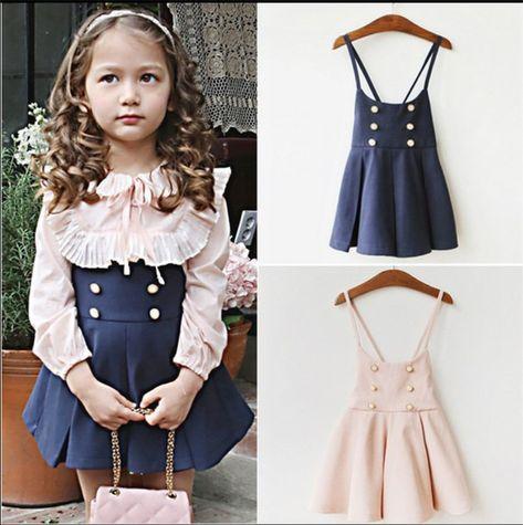 Girl lace blouse with suspender strap Dress Korean style girl dress two piece dress children clothing set girls vestidos