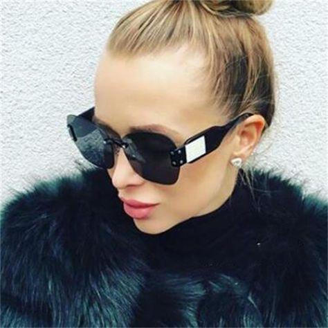 4092a023062c Find More Sunglasses Information about italian brand Rimless sunglasses for  women 2018 trendy black shades Square Half Frame sunglass fashion designer  ...