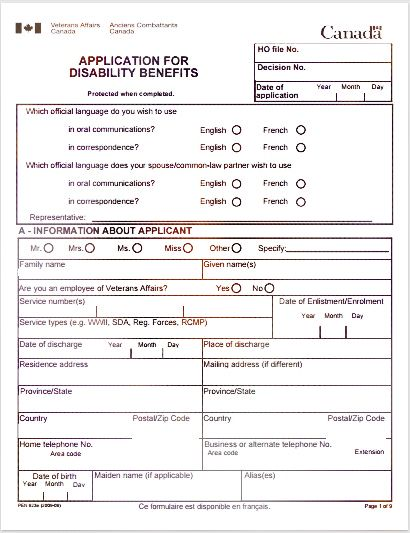 Application For Disability Insurance Benefits Disability