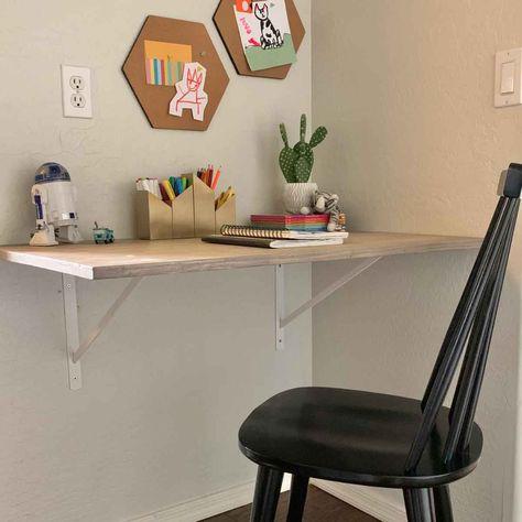 Wall Mounted Desk, Wall Desk, Kid Desk, Desk For Kids, Kids Desk Space, Kids Workspace, Diy Home Decor, Room Decor, Nursery Decor