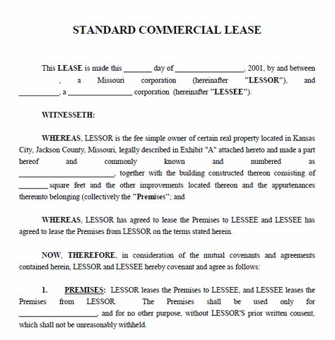 Printable Sample Free Lease Agreement Template Form Lease