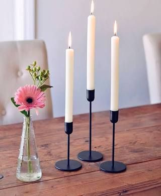 Modern Scandinavian Minimalist Tapered Black Candle Holder 3 Set Modern Candles Black Candles Black Candle Holders