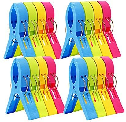 Esfun 16 Pack Beach Towel Clips Chair Clips Towel Holder For Pool