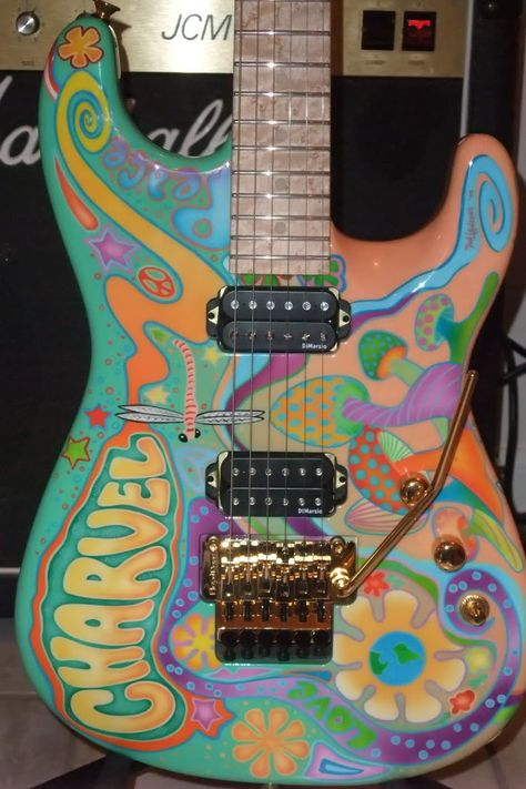 What happened is that when Grover Jackson hooked up with IMC, the Charvel line went overseas as a lower cost option and all the USA guitars were. Guitar Painting, Guitar Art, Cool Guitar, Unique Guitars, Custom Guitars, Saxophone Instrument, Music Instruments, Cool Electric Guitars, Aesthetic Indie