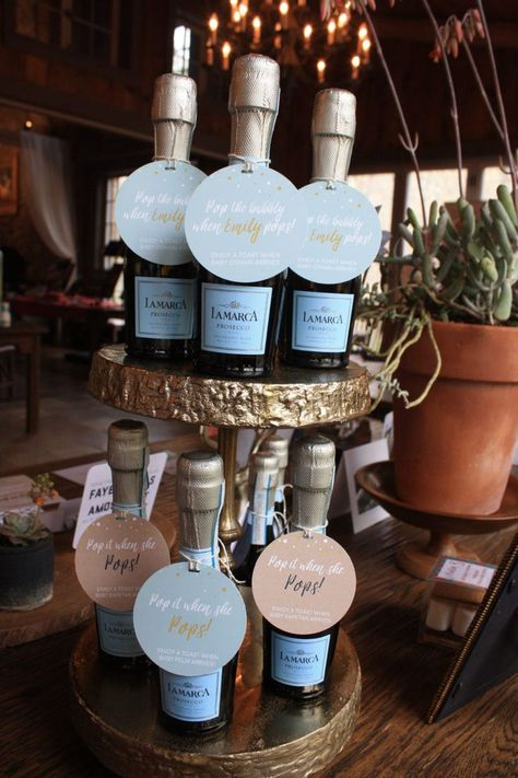 Ready to Pop! Baby Shower Champagne Favors #babyshowerideas #babyshowerfavors