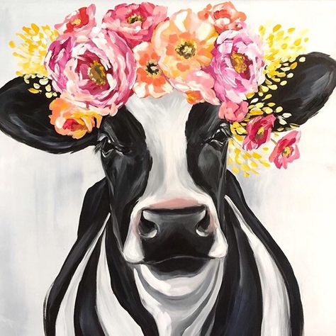 Excited to share this item from my #etsy shop: ORIGINAL 20x20 Maisie Holstein cow painting, farmhouse art, farmhouse decor, floral crown