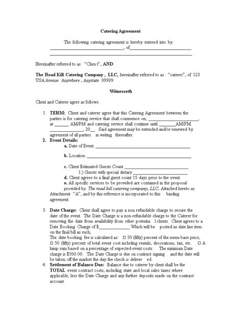 Catering Contract Template - Catering Contract Template - catering contract agreement
