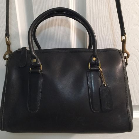 3cf210dea94a Vintage Coach bag Vintage Coach Crossbody handbag in black leather. Shows  some wear but great bag for its age! Clean inside   out.