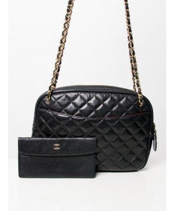 3d5f9f330be5b2 Chanel black leather tote shoulder bag and wallet Labellov webshop shop  safe online authentic luxury designer vintage