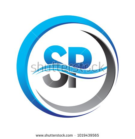 Initial Letter Logo Sp Company Name Blue And Grey Color On