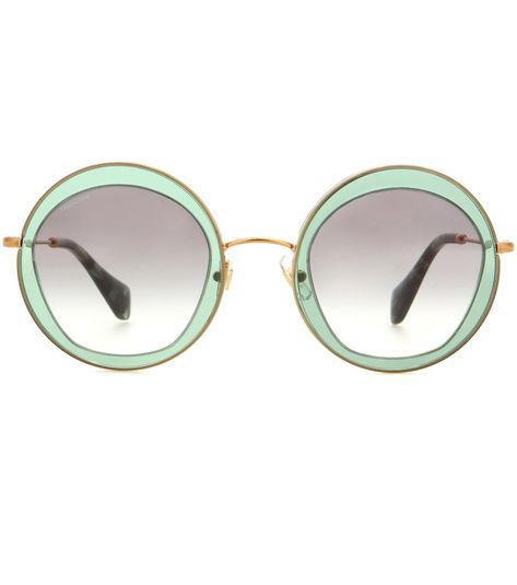 f34dd627565d Miu Miu - Round sunglasses - Channel Miu Miu's '70s vibe with these retro round  glasses. The green lenses and gold frames are complemented by tonal arms.