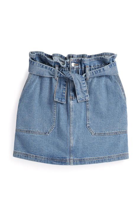 Primark - Light Blue Belted Denim Skirt