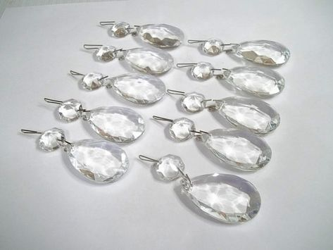 30pcs Chandelier Crystals Beads Clear Glass Teardrop