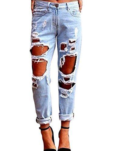 Kasen Pantalones Sueltos Mujer Vaqueros Rotos Agujero Jeans Casuales Pantalones De Mezclilla Pantalones Pantalones Vaqueros Rasgados