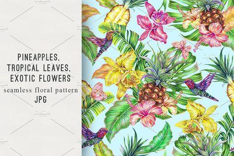 Exotic flowers,pineapples pattern